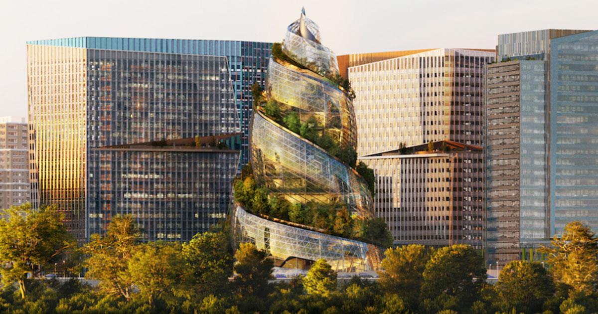 Nova sede de escritórios da Amazon chama atenção com sua torre espiral