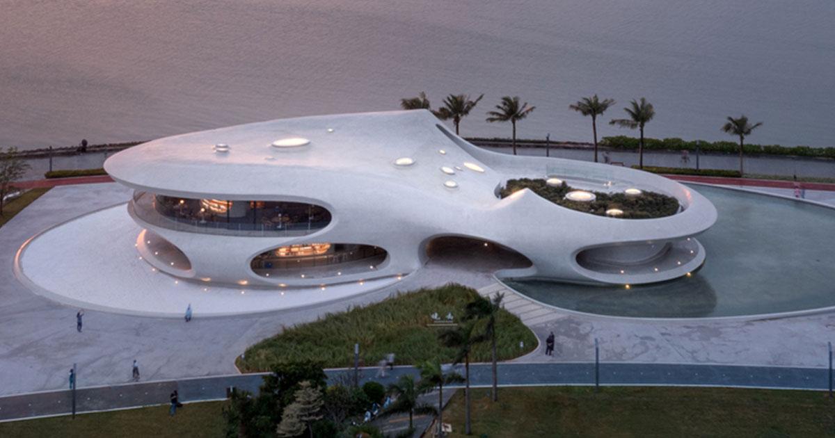 Biblioteca futurista: pavilhão Cloudscape of Haikou é inaugurado na Baía de Haikou